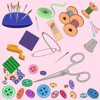 Colección de elementos de costura a color