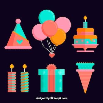 Colección de elementos de cumpleaños en estilo plano