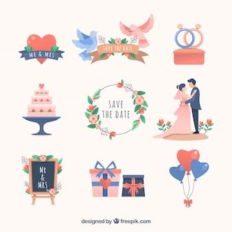 Colección elementos de boda con diseño plano