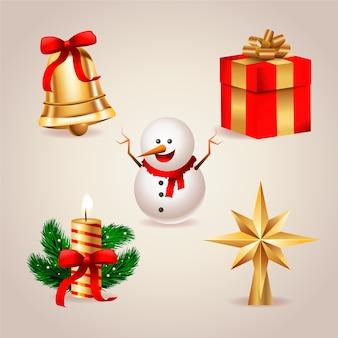 Colección de elementos de decoración de árboles de navidad