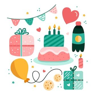 Colección de elementos de decoración de cumpleaños.