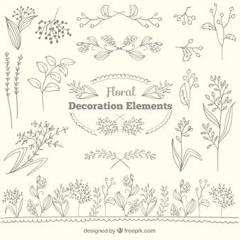 Colección de elementos de decoración floral