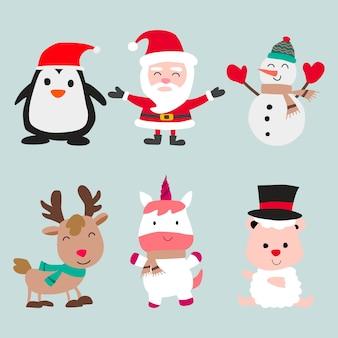 Colección de elementos de decoración navideña.