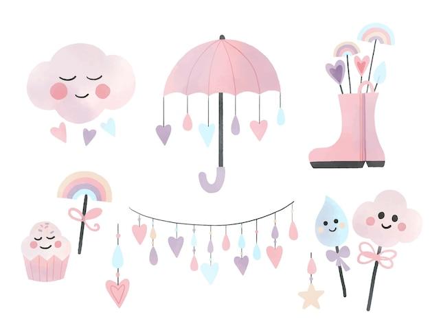 Colección de elementos decorativos chuva de amor de acuarela pintada a mano