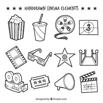 Colección de elementos decorativos de cine dibujados a mano