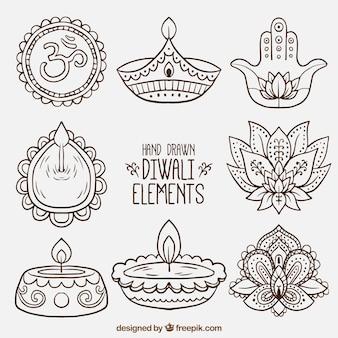 Colección de elementos decorativos de diwali dibujados a mano