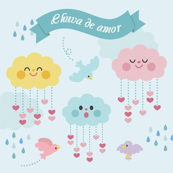 Colección de elementos decorativos planos chuva de amor