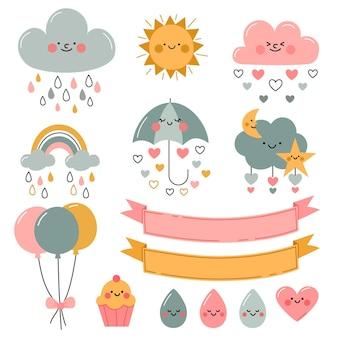 Colección de elementos decorativos planos orgánicos chuva de amor.