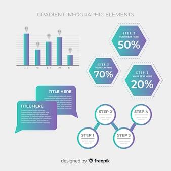 Colección elementos degradados infografía
