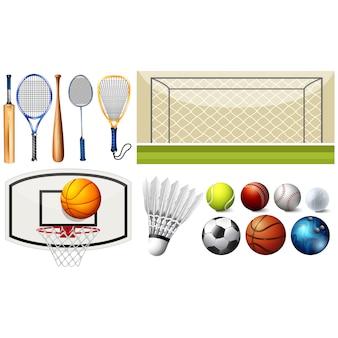 Colección de elementos de deporte