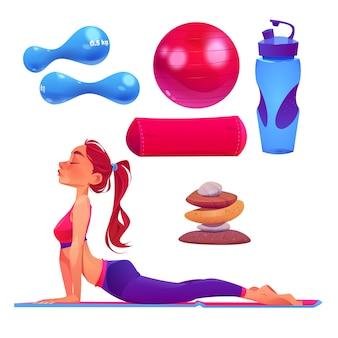 Colección de elementos del día internacional de dibujos animados de yoga