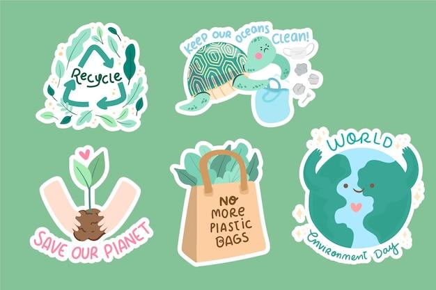 Colección de elementos del día mundial del medio ambiente dibujados a mano