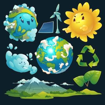 Colección de elementos del día mundial del medio ambiente de dibujos animados