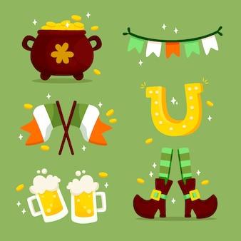 Colección de elementos del día de san patricio con bandera y cerveza