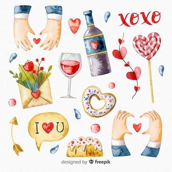 Colección elementos día de san valentín dibujados a mano