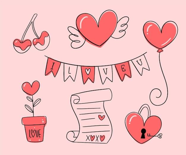 Colección de elementos del día de san valentín dibujados a mano