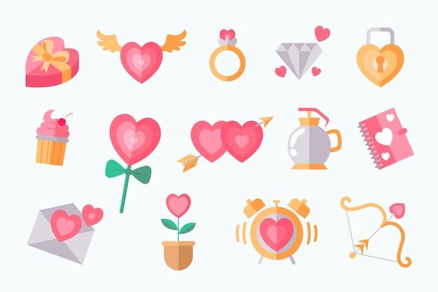 Colección de elementos del día de san valentín en diseño plano