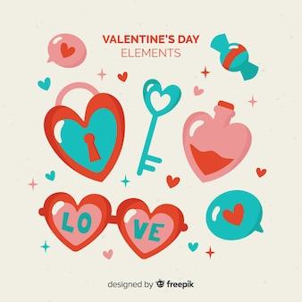 Colección elementos día de san valentín