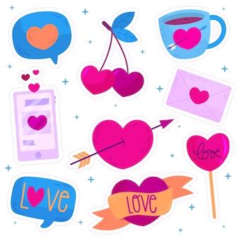 Colección de elementos dibujados a mano del día de san valentín