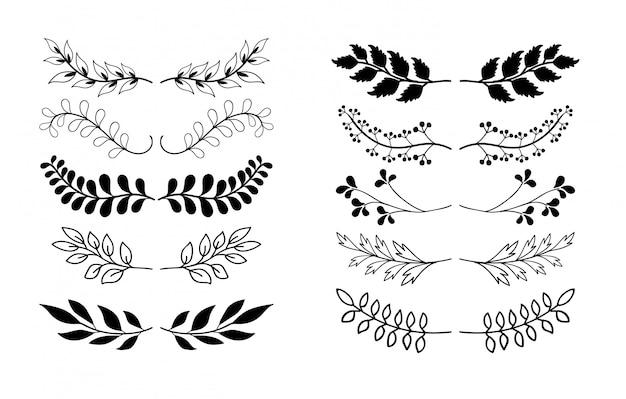 Colección de elementos dibujados a mano de las fronteras, adorno floral