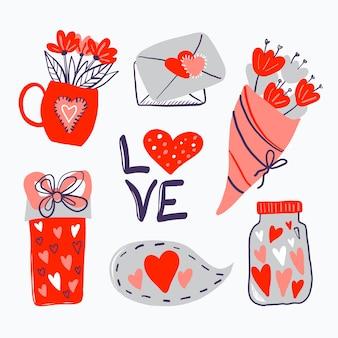 Colección de elementos dibujados a mano de san valentín