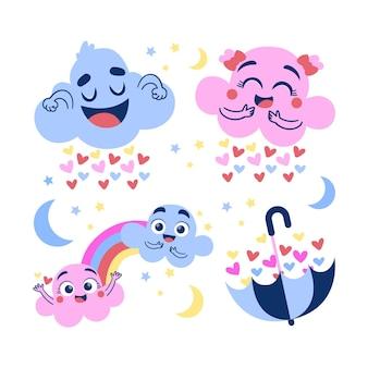 Colección de elementos de dibujos animados chuva de amor