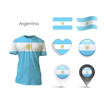 Colección de elementos con diseño de argentina