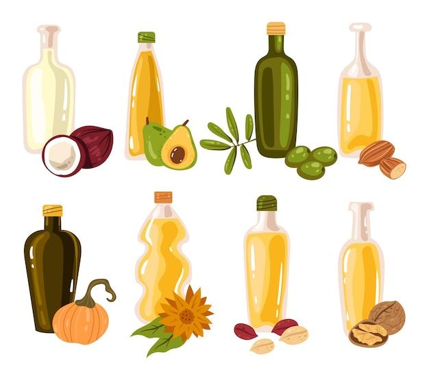 Colección de elementos de diseño de botellas de aceite diferentes