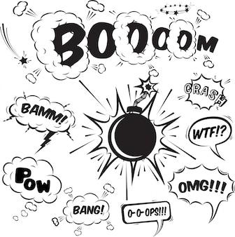 Colección de elementos de diseño de burbujas de discurso cómico