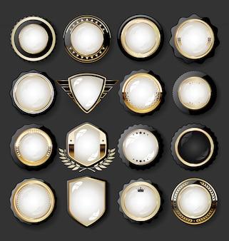 Colección de elementos de diseño dorado de lujo con distintivos, etiquetas y laureles