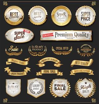 Colección de elementos de diseño dorado de lujo.