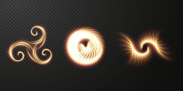 Colección de elementos de diseño de espirales de rizos dorados claros para logotipos, juegos, protectores de pantalla, videos, sitios.