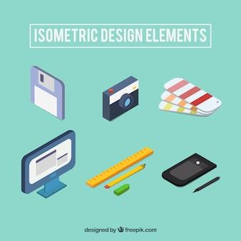 Colección de elementos de diseño gráfico en estilo isométrico