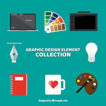 Colección de elementos de diseño gráfico en estilo plano