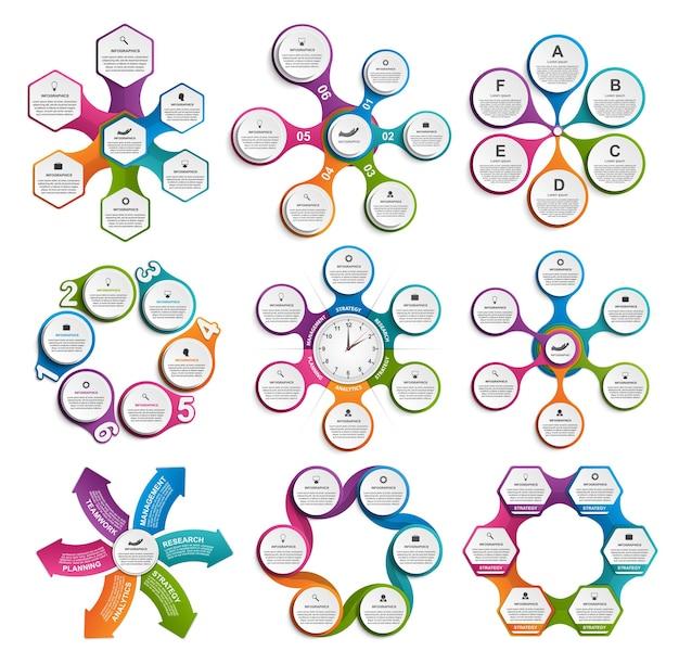 Colección de elementos de diseño de infografías.