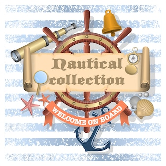 Colección de elementos de diseño náutico