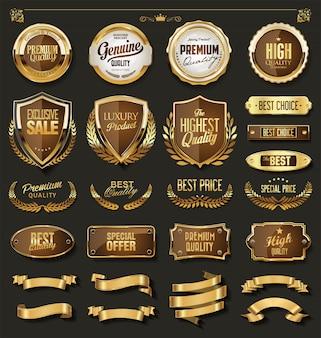 Colección de elementos de diseño en oro y negro de lujo.