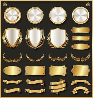 Colección de elementos de diseño de oro y plata de lujo