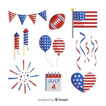 Colección de elementos en diseño plano del 4 de julio - día de la independencia