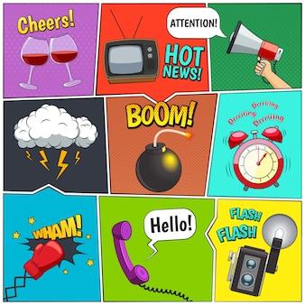 Colección de elementos de diseño retro de cómics con reloj despertador y nubes de tormenta.