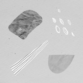 Colección de elementos de diseño de trazos de garabatos y texturas de piedra gris