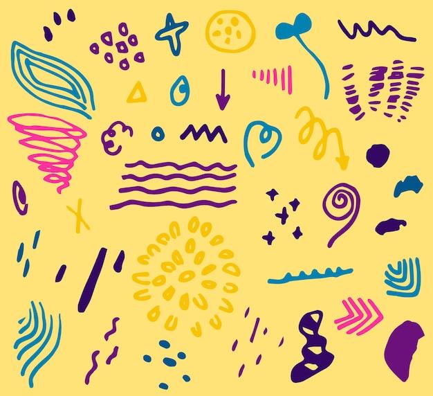 Colección de elementos de doodle abstractos dibujados a mano para fondo de impresión de diseño web
