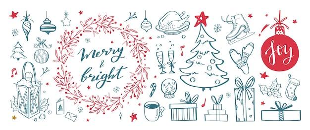 Colección de elementos de doodle de diseño navideño