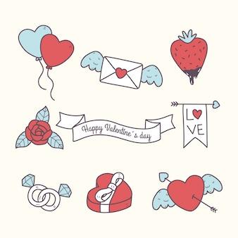 Colección de elementos doodle de san valentín