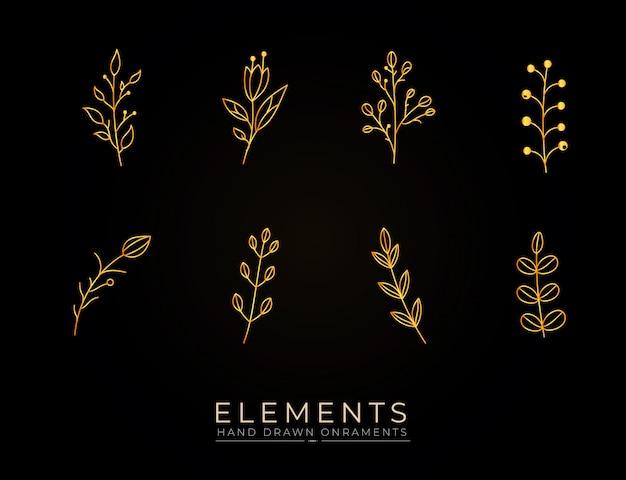 Colección de elementos dorados botánicos dibujados a mano