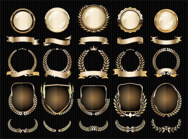 Colección de elementos dorados de lujo con distintivos, etiquetas y laureles