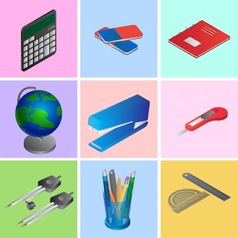 Colección de elementos de educación 3d o suministros