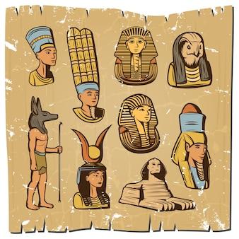 Colección de elementos egipcios antiguos de colores vintage