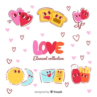 Colección de elementos encantadores ilustrados