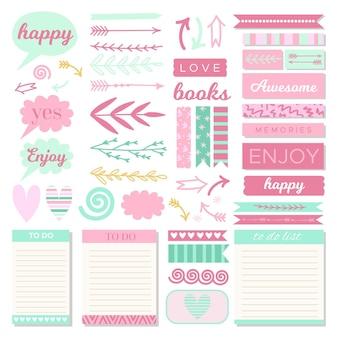 Colección de elementos encantadores del libro de recuerdos del planificador